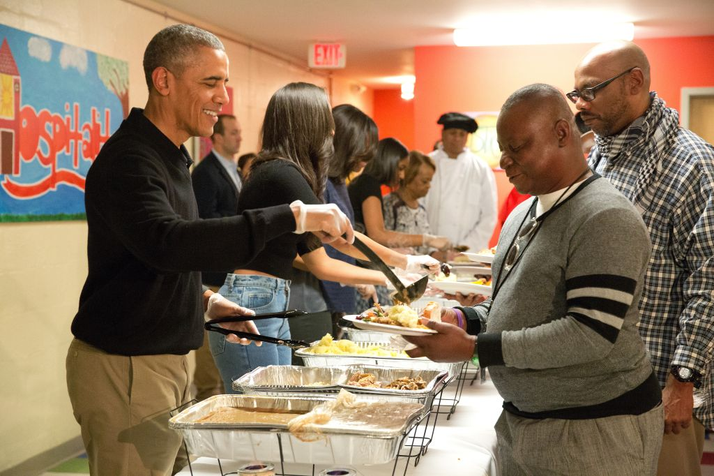 President Obama Serves Thanksgiving Meals To Homeless Veterans