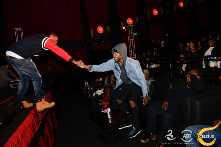 Tony Rock and Nick Young at the All Def comedy show in Hollywood.
