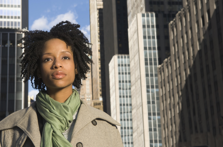African American woman in urban scene