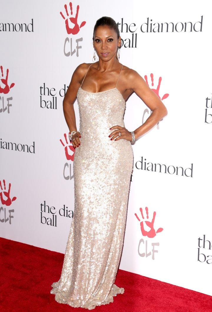 Holly Robinson Peete shimmered in gold.