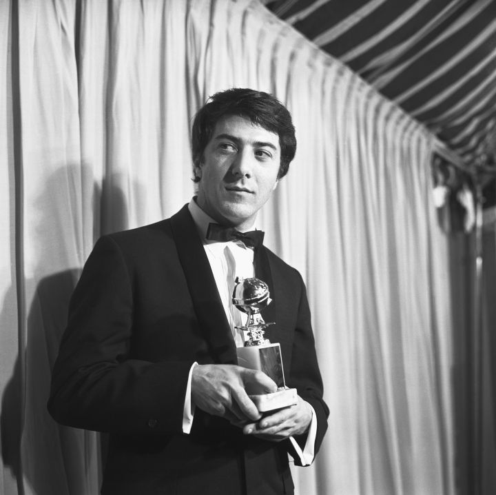 Dustin Hoffman flaunted his award in 1968.