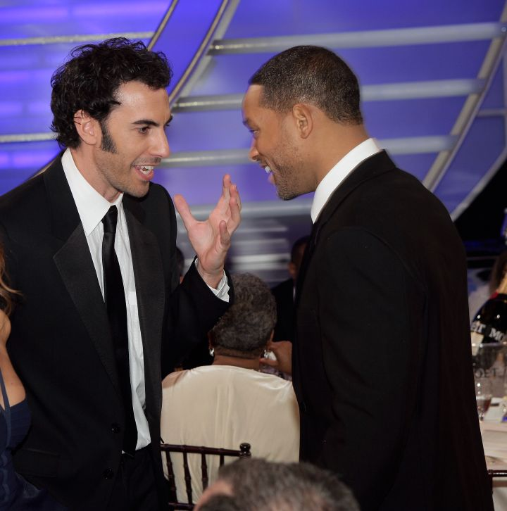All laughs for Will Smith and Sacha Baron Cohen.