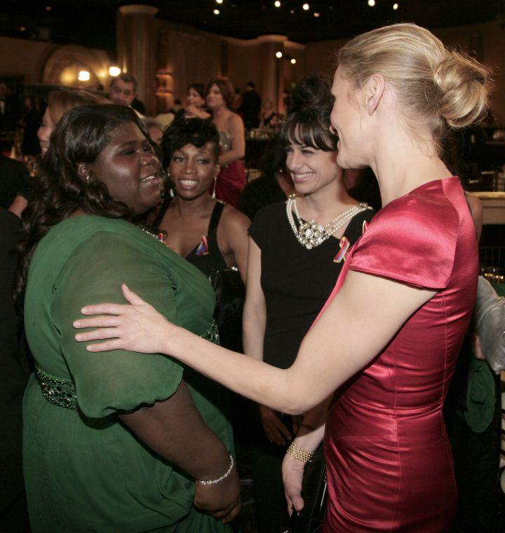 Gabourey Sidibe and Cameron Diaz greeted each other.