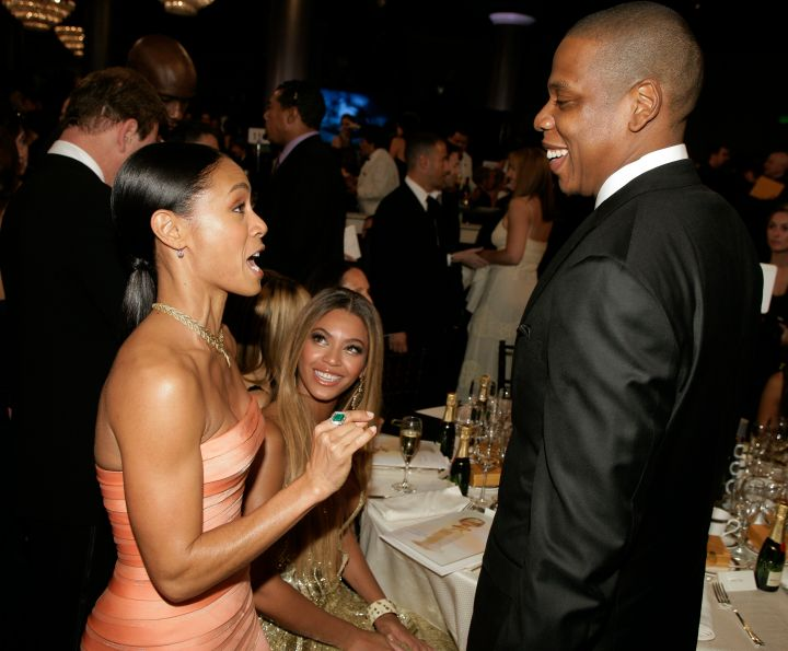 Beyonce watched on and Jay Z and Jada conversed.