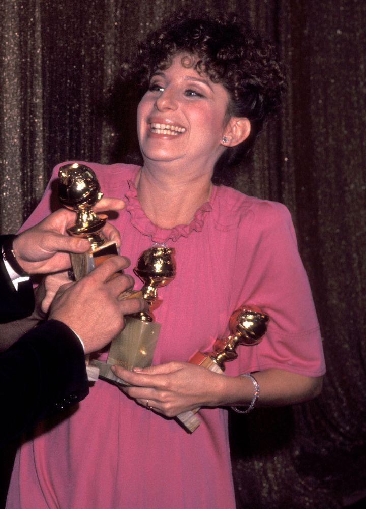 Barbra Streisand showed off her many awards back in 1977.