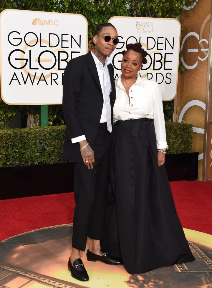 Wiz Khalifa walked the carpet with his mother.