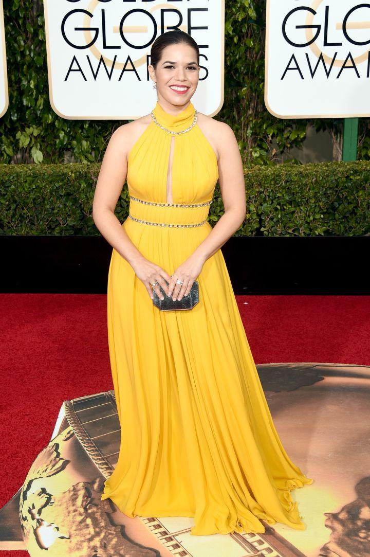 America Ferrera shined in a vibrant yellow dress.