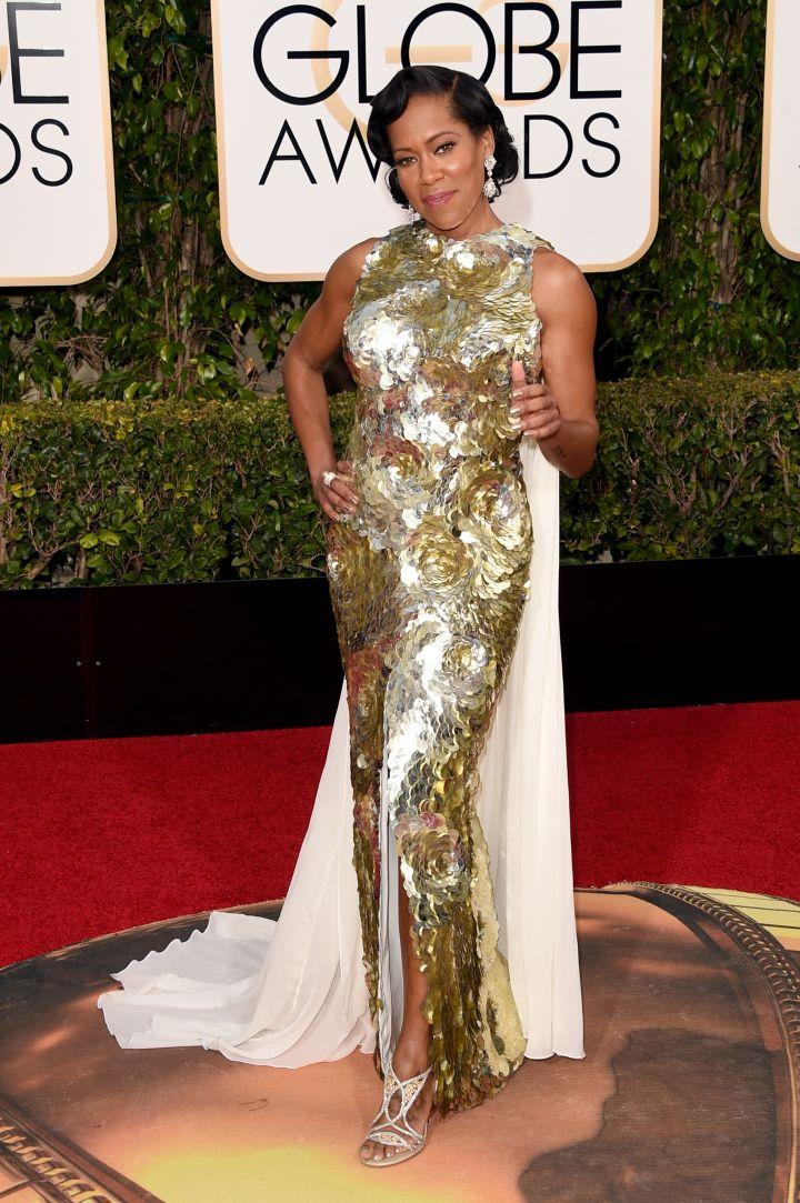 Regina King dazzled in gold.