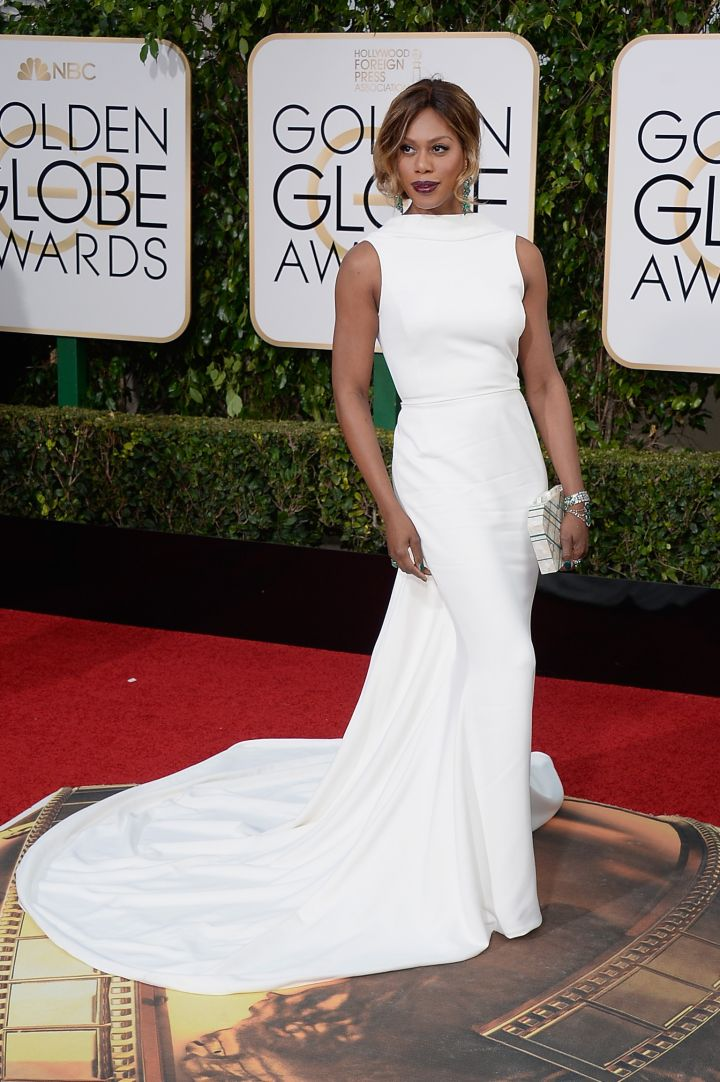 Laverne Cox kept it classic and elegant in Elizabeth Kennedy.