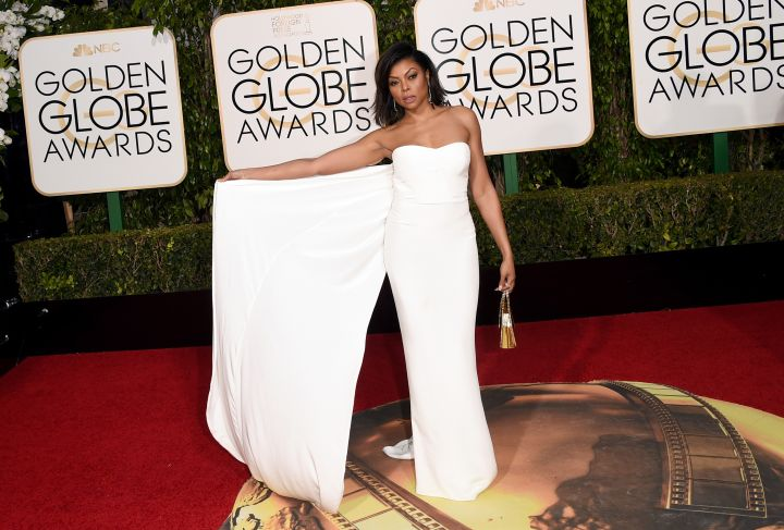 Nominated for her role as Cookie, Taraji P. Henson walked the carpet in a white gown which she accessorized with stunning jewels.