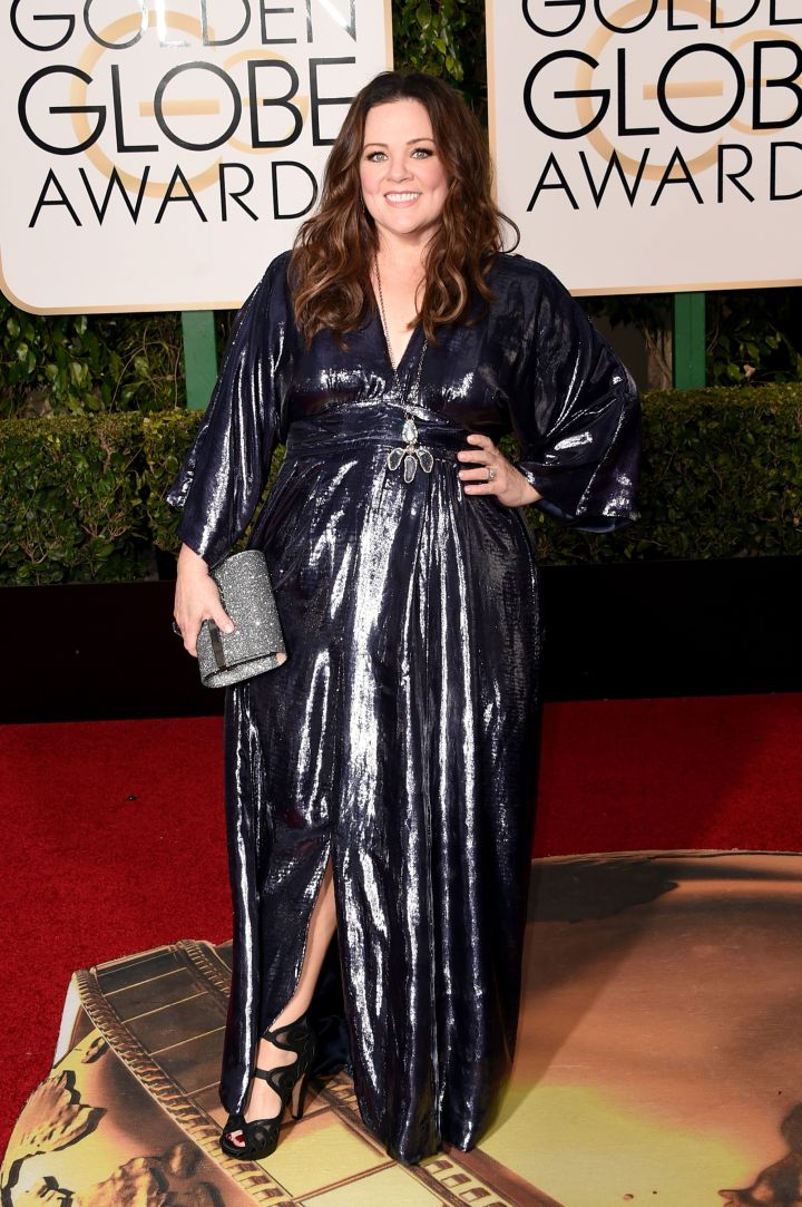 Melissa Mccarthy was a sight to see in a metallic, blue gown.