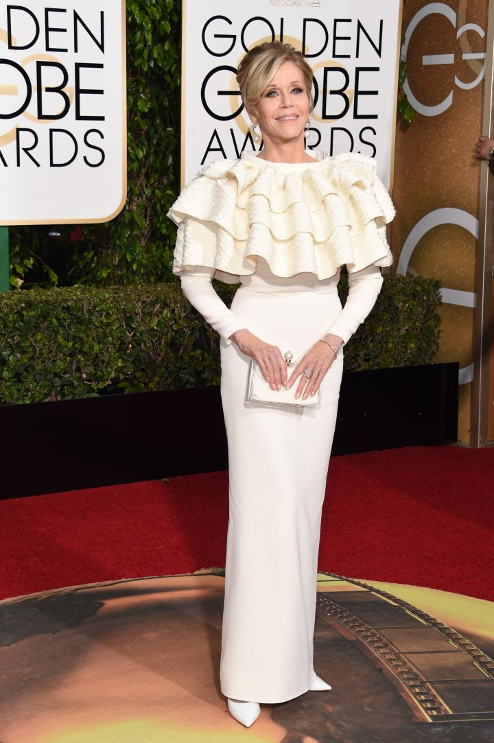 The Goddess, Jane Fonda, stepped out in ruffles.