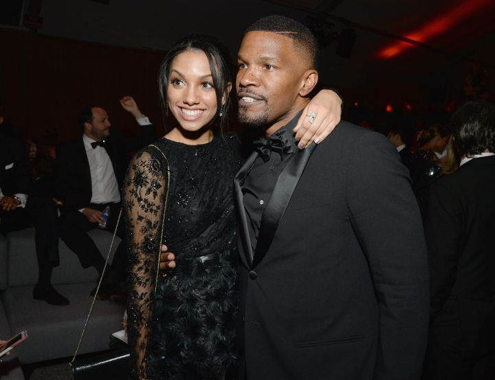 Corinne and Jamie Foxx give one last hug at an after party for the 2016 Golden Globe Awards in Beverly Hills.