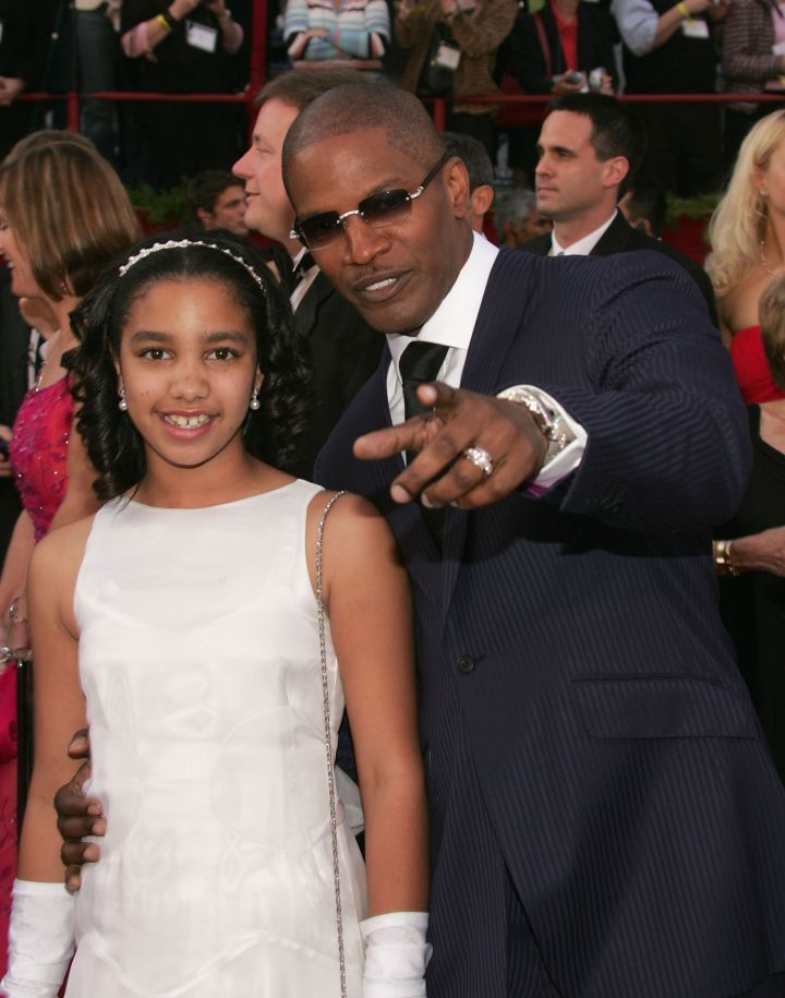 Point to the camera, Jamie. Jamie Foxx was nominated for Best Actor in a Supporting Role for his performance in 'Collateral' and for Best Actor in a Leading Role for his performance in 'Ray' and arrives at the Oscars with his daughter Corinne.