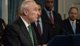 NYPD Commissioner Bill Bratton speaks at the City Hall press...