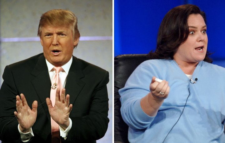 """After Donald Trump announced that he wouldn't fire troubled Miss USA Tara Conner, Rosie O'Donnell called him a """"snake-oil salesman"""" and their feud began."""