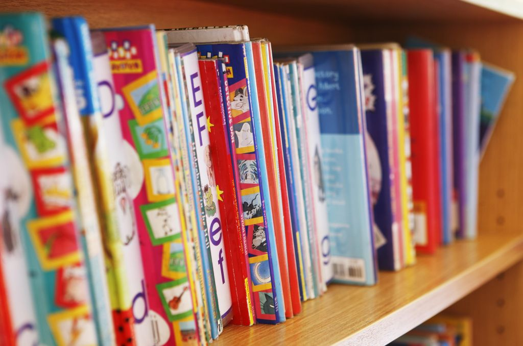 childrens reading books on bookshelf