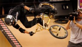 Dave Mirra performs a move during the first round of the BMX Freestyle Vert Finals at Staples Cente