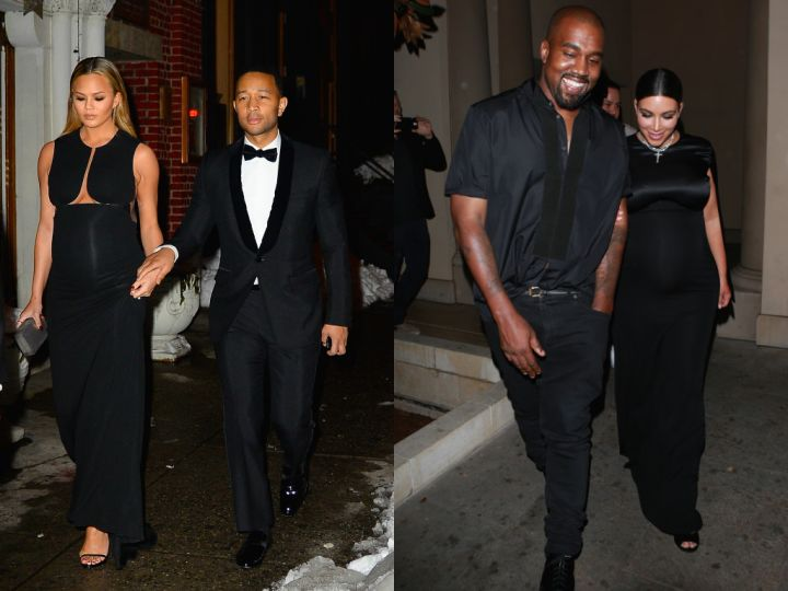 Chrissy's black gown was very similar to the dress Kim wore to a CFDA event back in October.