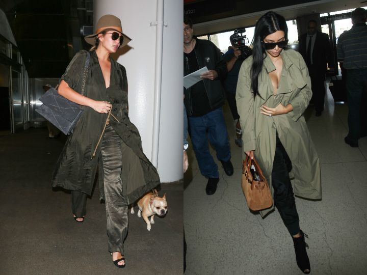 Comfort is key while expecting, hence their choice of harem pants and the military-green trench.