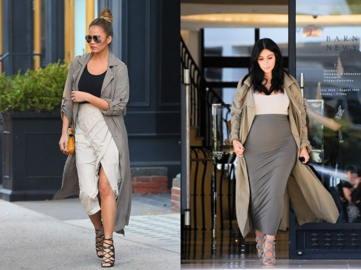 A midi-skirt paired with lace-up heels and a coat? Classic Kim.