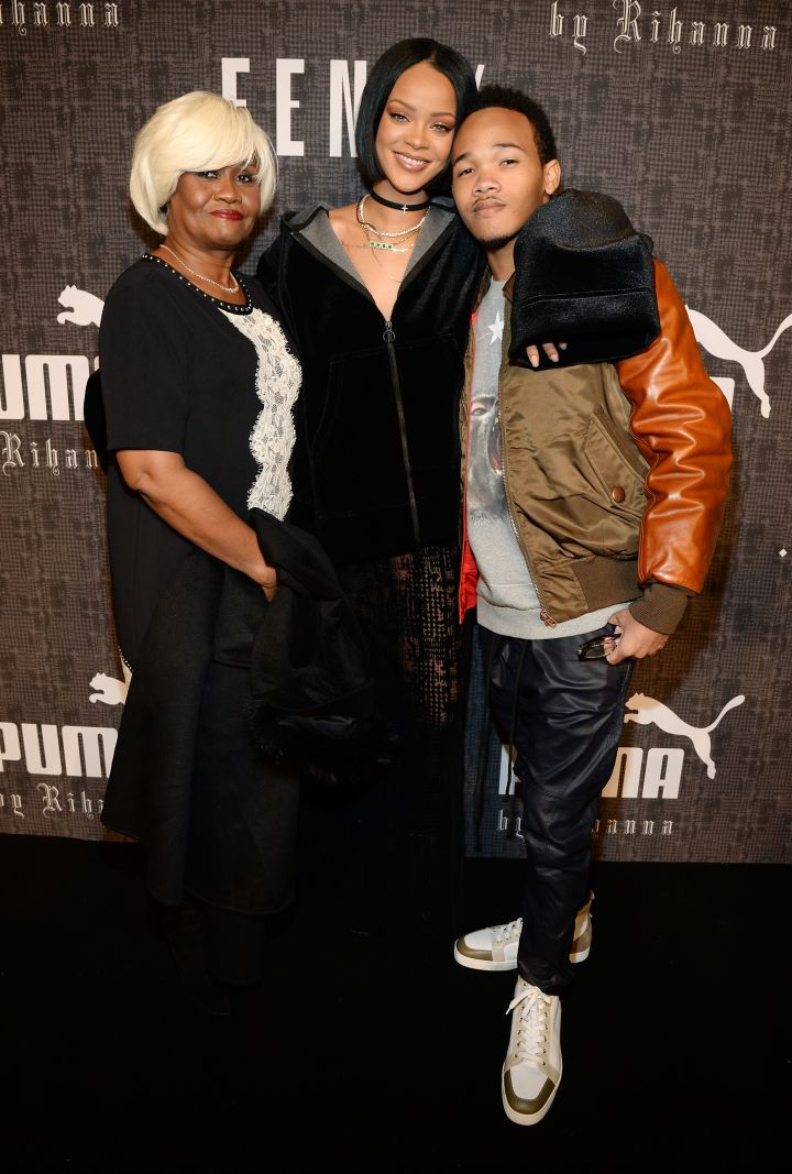Rihanna, her mother, and brother