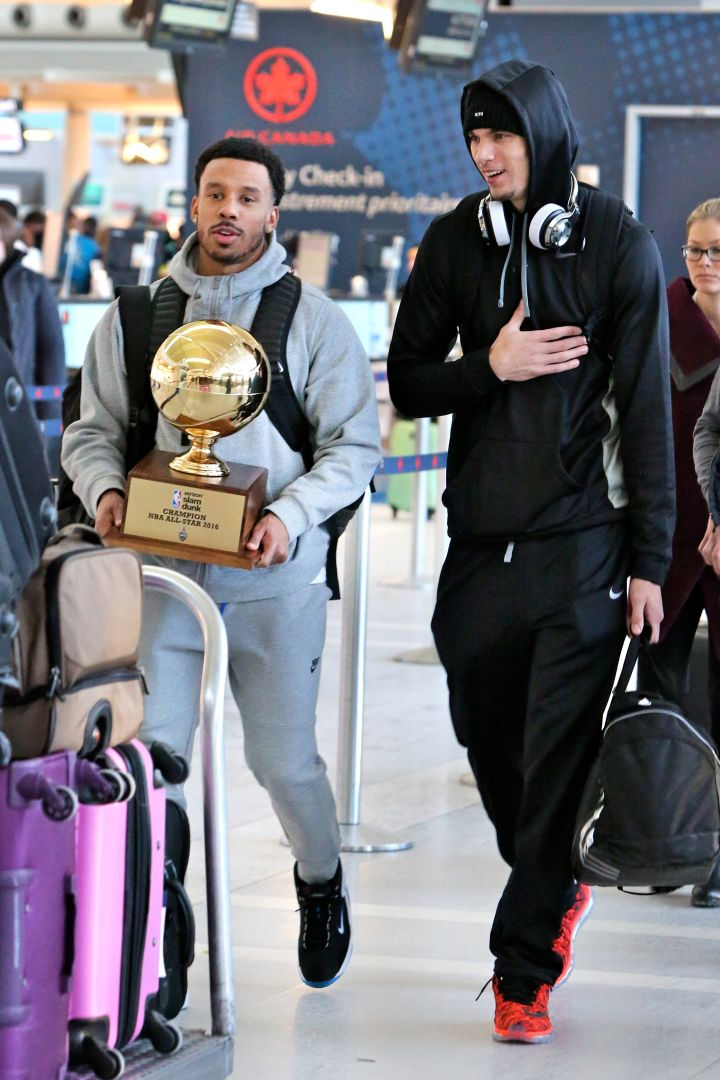 Zach Lavine leaves Toronto with his Slam Dunk trophy.