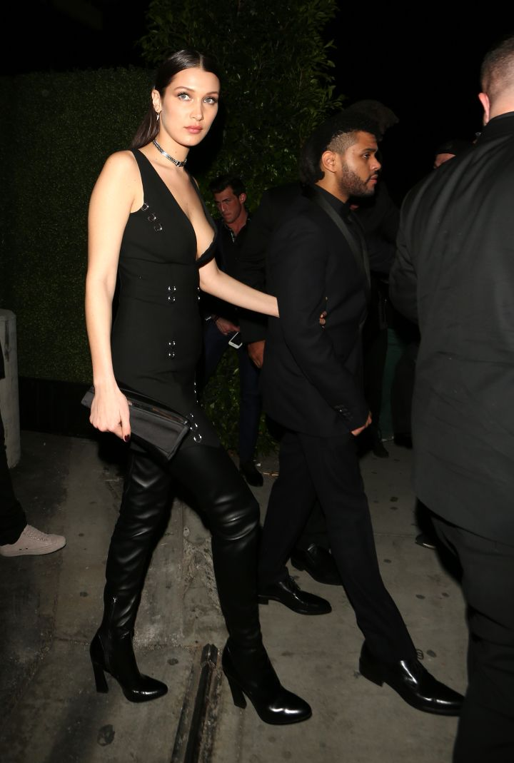 Bella Hadid and The Weeknd sneak off to Hyde Nightclub after the Grammys.