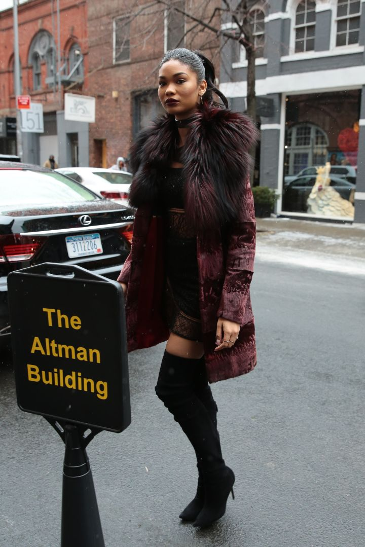 Chanel Iman arrives at S.I.'s Swim City Day 1 in NYC.