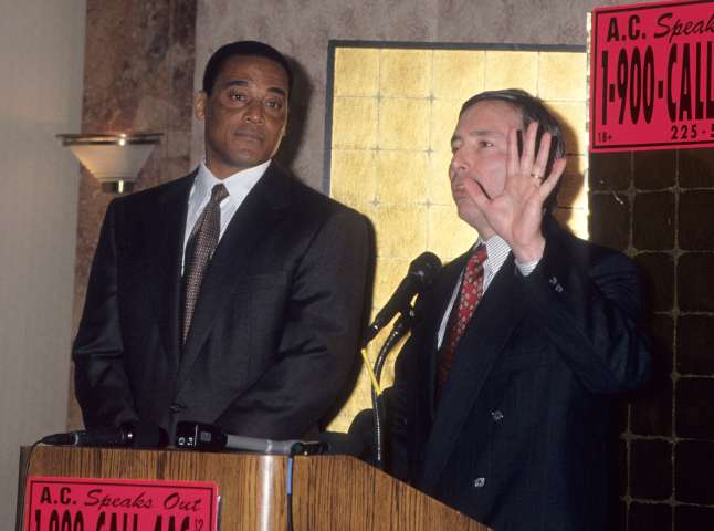 Press Conference with Al Cowlings (Pro Football Player and Friends with O.J. Simpson and Nicole Brown)