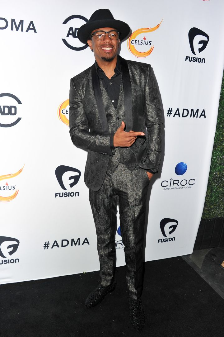 Nick Cannon chose to cover his head in a fedora for the event.