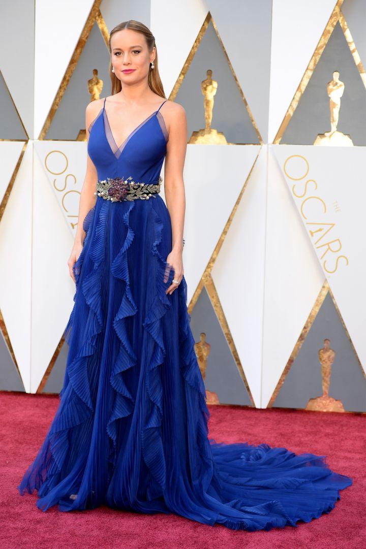 Brie Larson in custom Gucci.