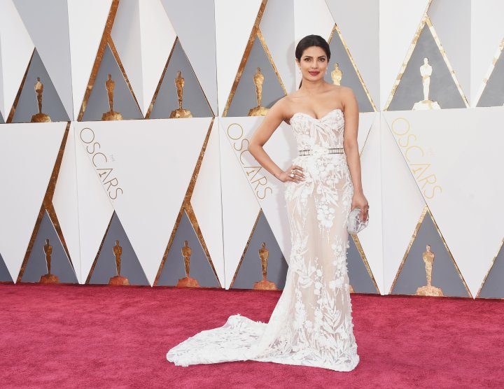 S T U N N I N G. Priyanka Chopra in a sheer, white gown.