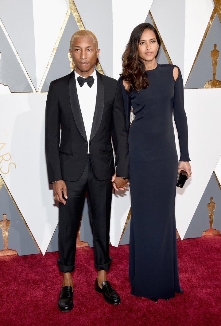 Pharrell's still rocking blonde hair. He arrived with his wife, Helen.