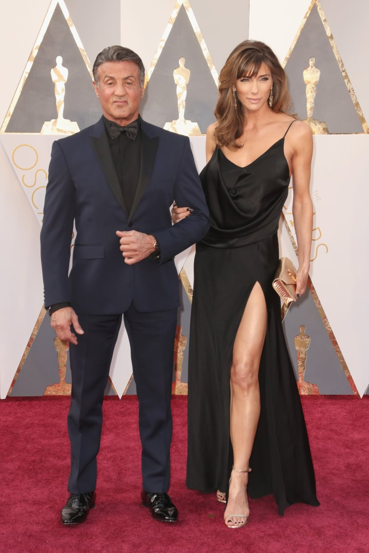 Sylvester Stallone walks the carpet with Jennifer Flavin.