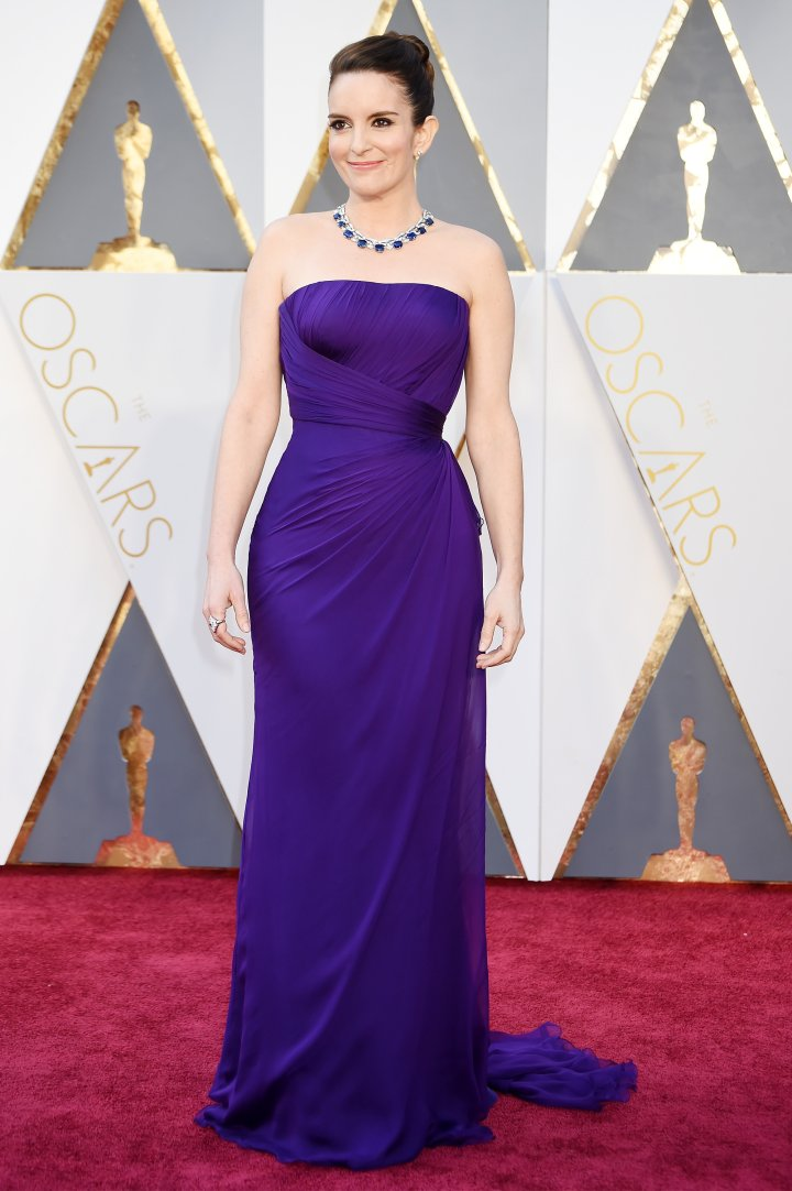 Tina Fey is vibrant in purple.