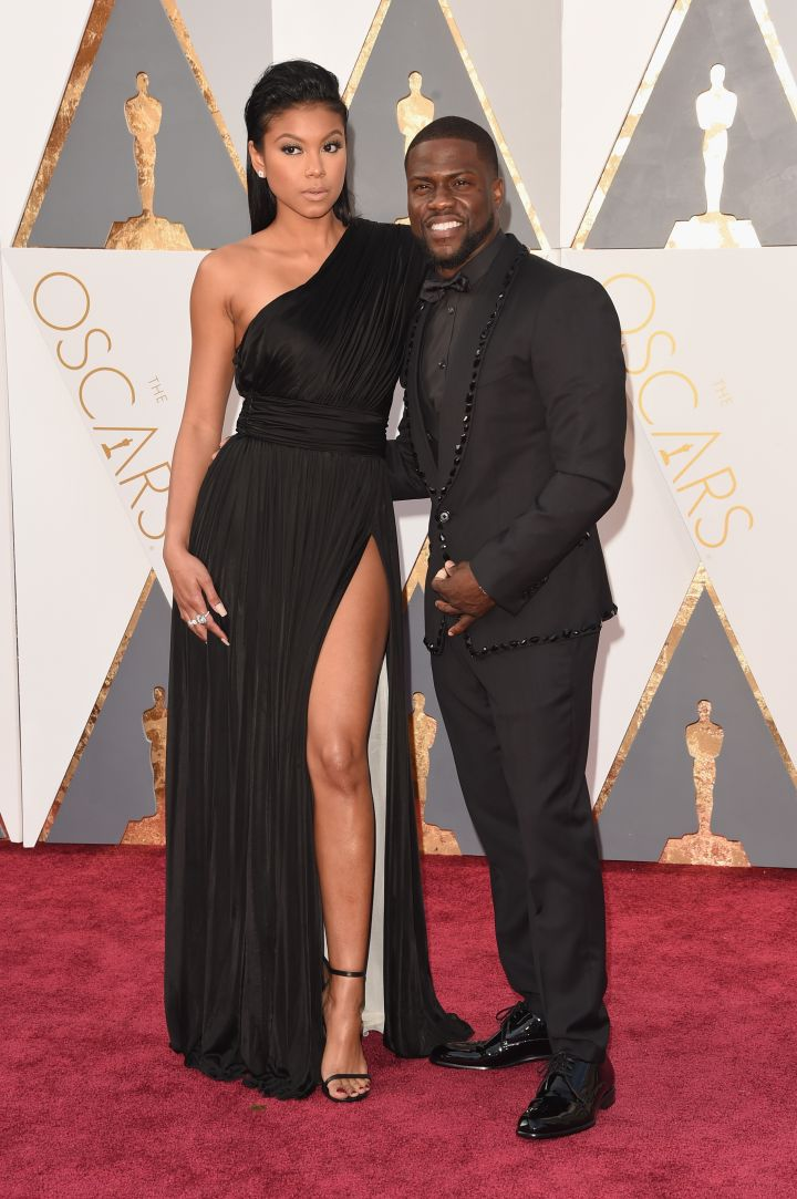 Eniko serves lots of leg on the carpet with Kevin Hart.