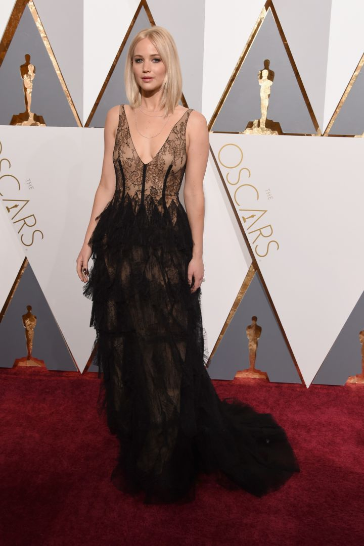 Jennifer Lawrence goes for sheer.