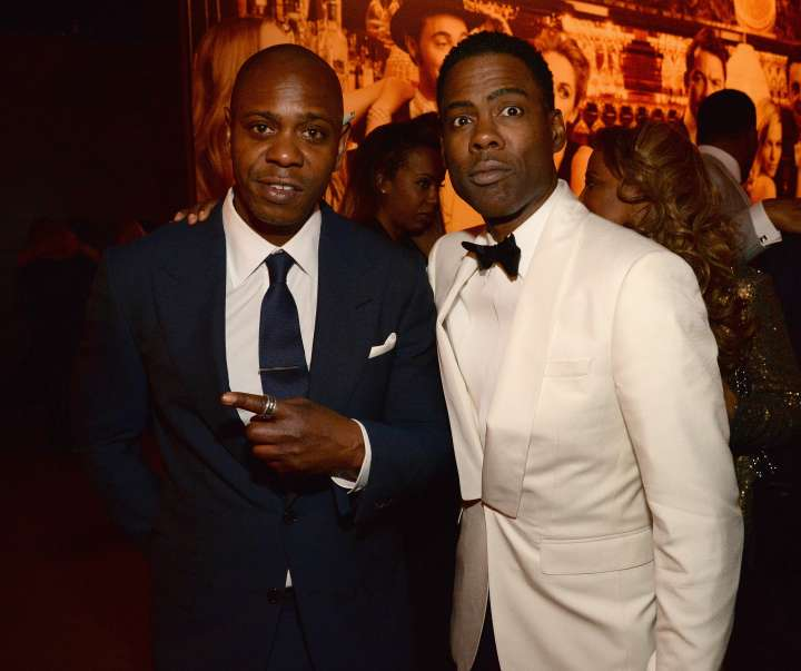 Dave Chappelle and Chris Rock kept it straight faced for this flick after the Oscars was over.