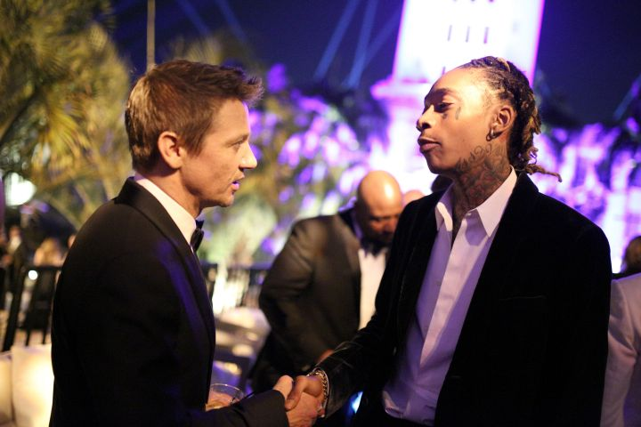 Wiz Khalifa chats it up with Jeremy Renner at the 2016 Vanity Fair Oscars After Party.