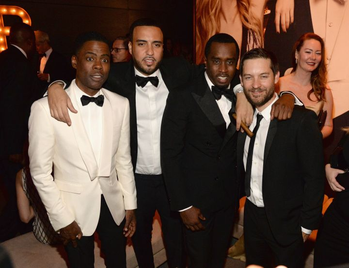Bad Boys: French Montana and Diddy kick it with Chris Rock and Toby Maguire.