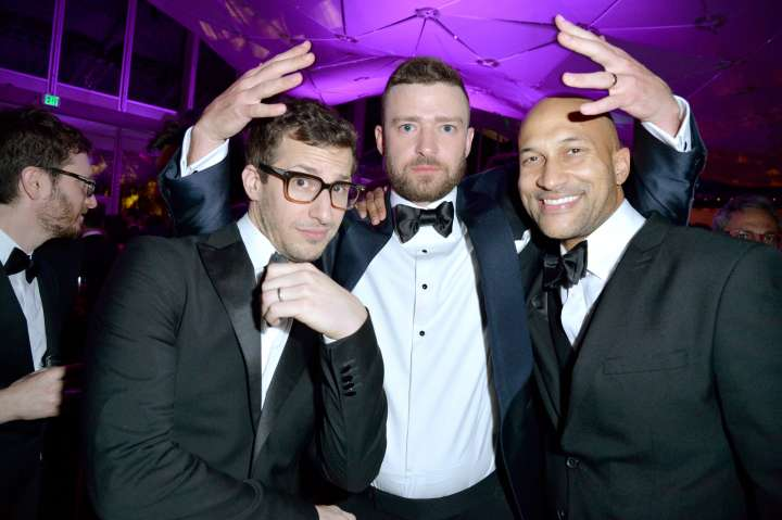 There are no boxes for Andy Sandberg, Justin Timberlake or Keegan-Michael Key to put anything inside of during this party.