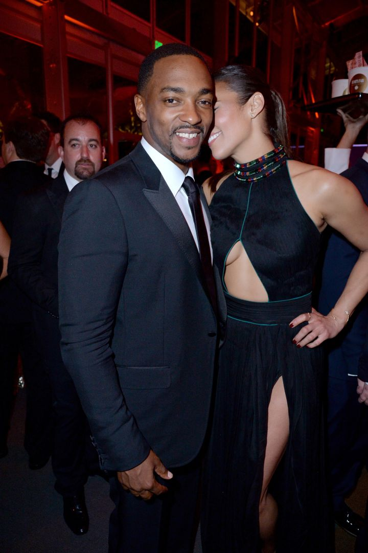 Paula Patton and Anthony Mackie were having a great time together at the Vanity Fair party.