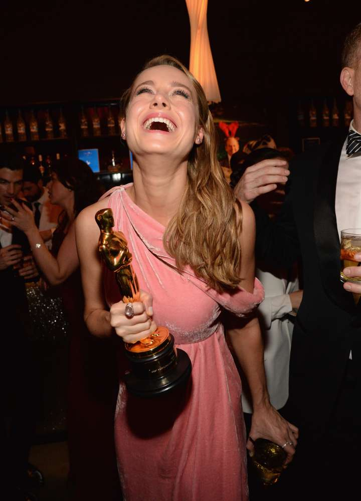 Brie Larson had a great time after her Oscar win. Laugh it up!