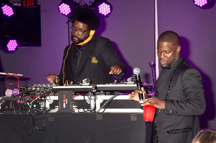 Kevin Hart rocks out to the tunes at Quest Love at his official Oscar's After Party