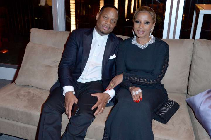 Mary J Blige and her husband Kenzo kept it casual at the Vanity Fair party.