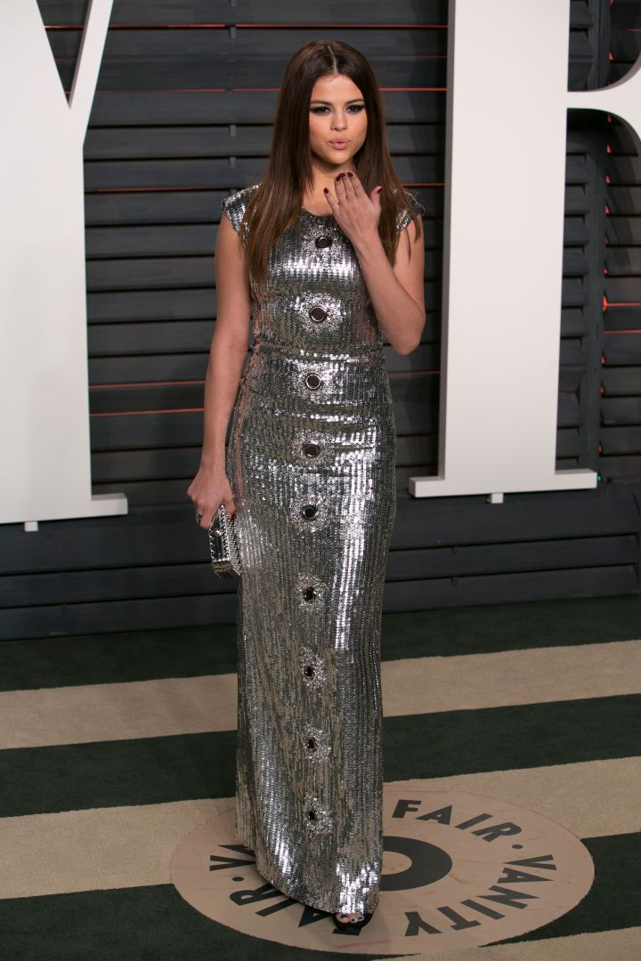 Selena Gomez shimmered in sequin. Are you feeling this look?