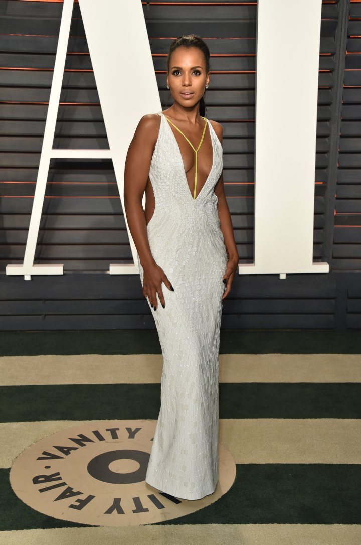 After walking the Oscars red carpet in Versace, Kerry Washington wore this eccentric gown to the VF bash.