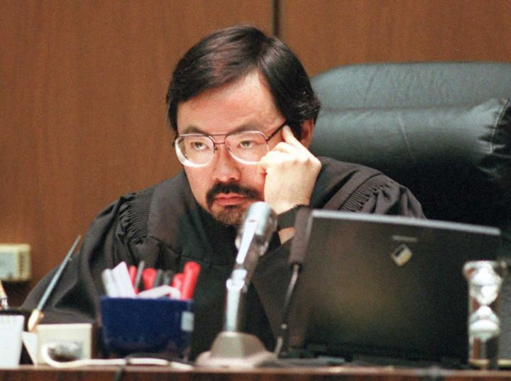 Judge Lance Ito listens to defense motions to exclude Mark Fuhrman's testimony and the prosecutions' response to retain the information 11 September during a court hearing in the O.J. Simpson murder trail.