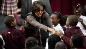 US First Lady Michelle Obama greets a st